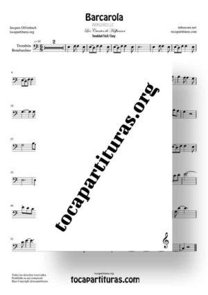 Barcarola Tonalidad Fácil (Offenbach) Partitura de Trombón / Bombardino (Trombone / Euphonium)