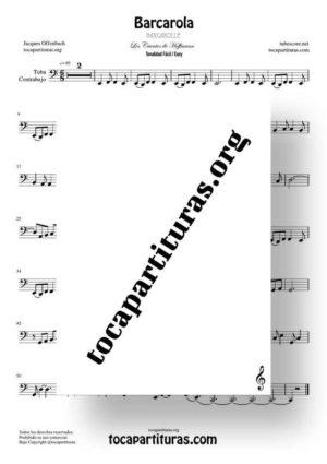 Barcarola Tonalidad Fácil (Offenbach) Partitura de Tuba / Contrabajo (Contrabass)