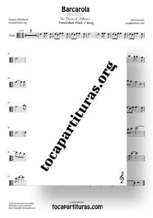 Barcarola Tonalidad Fácil (Offenbach) Partitura de Viola