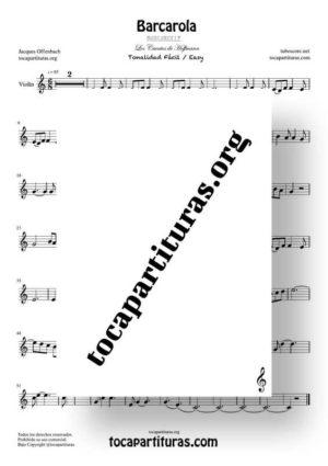 Barcarola Tonalidad Fácil (Offenbach) Partitura de Violín