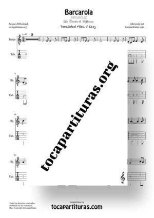 Barcarola (Offenbach) Tonalidad Fácil Partitura Tablatura de Banjo (Tabs)