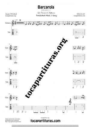 Barcarola (Offenbach) Tonalidad Fácil Tablatura y Partitura del Punteo de Guitarra (Guitar Tabs)
