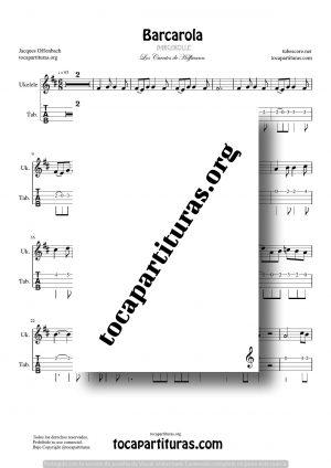 Barcarola (Offenbach) Tablatura y Partitura del Punteo de Ukelele (Guitar Tabs) Tono Original