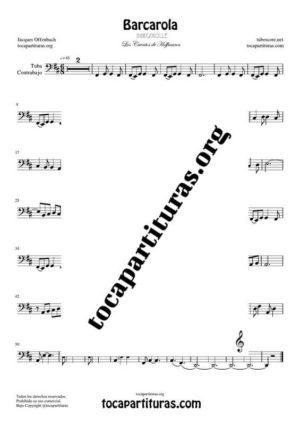 Barcarola (Offenbach) Partitura de Chelo / Fagot (Cello/Bassoon) Tono Original