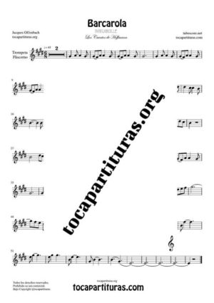 Barcarola (Offenbach) Partitura de Clarinete (Clarinet) Tono Original
