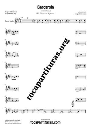 Barcarola (Offenbach) Partitura de Corno Inglés (English Horn) Tono Original
