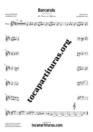 Barcarola (Offenbach)  Partitura de Flauta Dulce o Flauta de Pico (Recorder) Tono Original