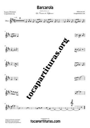 Barcarola (Offenbach) Partitura de Oboe Tono Original