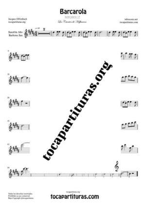 Barcarola (Offenbach) Partitura de Saxofón Alto / Saxo Barítono Mi bemol (E Flat Saxophone) Tono Original