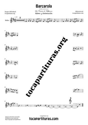 Barcarola (Offenbach) Partitura de Solfeo (Entonación y Ritmo) Tono Original