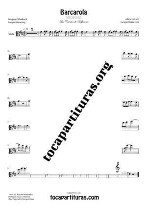 Barcarola (Offenbach) Partitura de Viola Tono Original