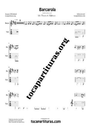 Barcarola (Offenbach) Partitura Tablatura de Banjo (Tabs) Tono Original