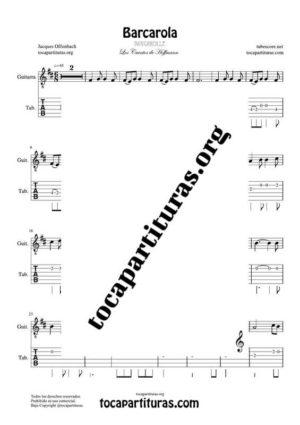 Barcarola (Offenbach) Tablatura y Partitura del Punteo de Guitarra (Guitar Tabs) Tono Original