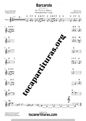 Barcarola (Offenbach) Easy Tone Notes Sheet Music for Treble Clef (Violín, Oboe, Flute, Recorder…)