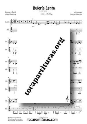 Bulería Lenta de diegosax Partitura y Tablatura del Punteo de Ukelele PDF y MIDI