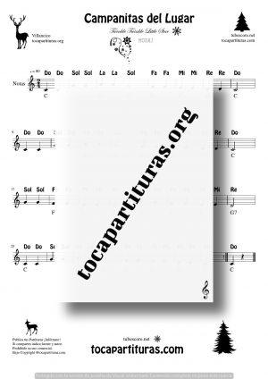 Campanitas de Lugar Partitura Fácil con Notas