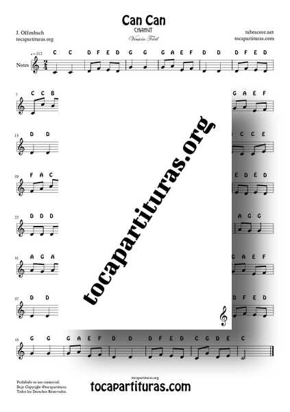 Can Can Easy Notes PDF y MIDI Sheet Music in C for Flute Violín Oboe