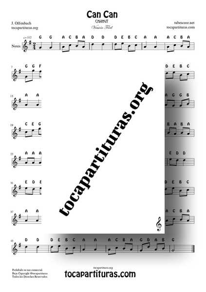 Can Can Easy Notes PDF y MIDI Sheet Music in G for Flute Violín Oboe