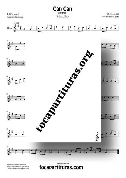 Can Can Partitura de Oboe PDF y MIDI