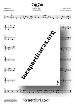 Can Can de Offenbach Partitura de Trompeta / Fliscorno Sol Mayor (Tonalidad Fácil)