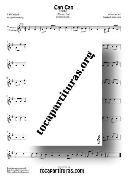 Can Can Partitura PDF y MIDI de Trompeta Versión Fácil Tonalidad Sol Mayor