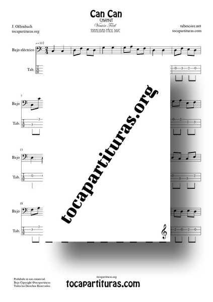 Can Can Partitura y Tablatura PDF y MIDI del Punteo de Bajo Eléctrico Versión Fácil Tonalidad Original 01
