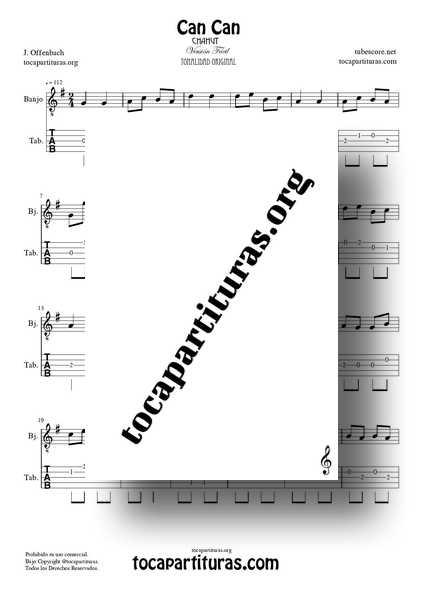 Can Can Partitura y Tablatura PDF y MIDI del Punteo de Banjo Versión Fácil Tonalidad Original 01