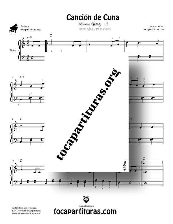 Canción de Cuna Partitura PDF y MIDI de Piano Fácil Easy Piano Sheet Music Brahms LullabyCanción de Cuna Partitura PDF y MIDI de Piano Fácil Easy Piano Sheet Music Brahms Lullaby