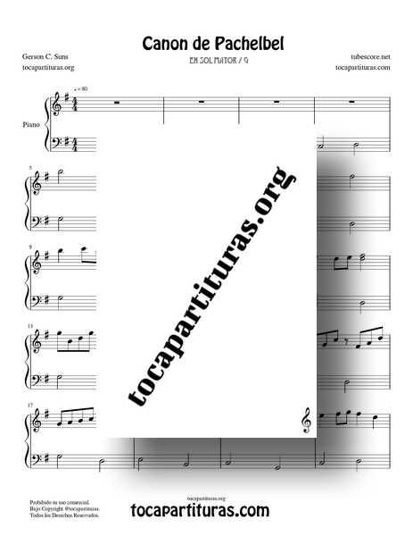 Canon de Pachelbel Partitura PDF MIDI MP3 de Piano Didáctico en Sol Mayor (G)