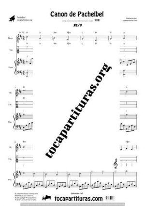 Canon de Pachelbel Partitura y Tablatura Dúo de Banjo y Piano