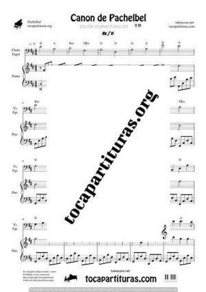 Canon de Pachelbel Partitura Dúo de Chelo / Fagot y Piano