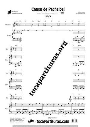 Canon de Pachelbel Partitura Dúo de Clarinete y Piano