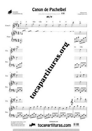 Canon de Pachelbel Partitura Dúo de Corno Inglés y Piano