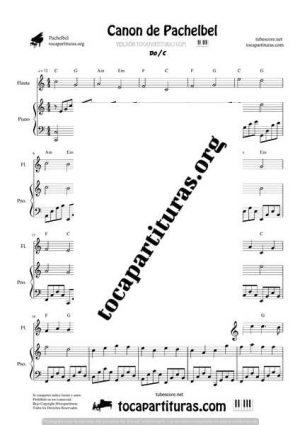 Canon de Pachelbel Partitura Dúo de Flauta Dulce y Piano