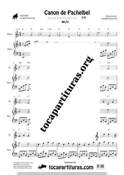 Canon de Pachelbel en D Partitura de Flauta Dulce y Piano DÚO Sheet Music for Recorder & Piano Duet Pianists