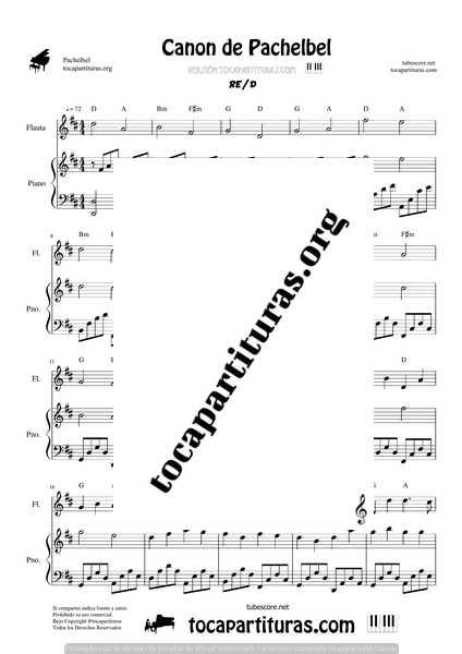 Canon de Pachelbel en D Partitura de Flauta y Piano DÚO Sheet Music for Flute & Piano Duet Pianists