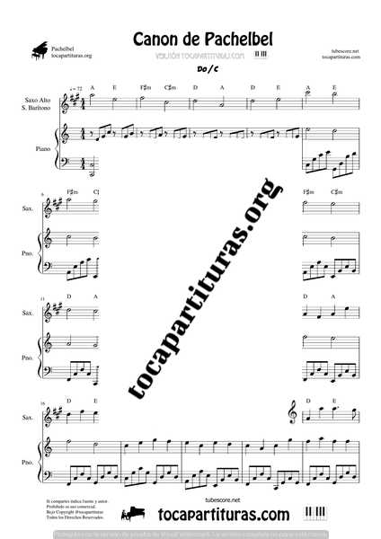 Partitura PDF y MIDI para Saxofón Alto y Saxo Barítono en Mi bemol (E flat saxophone) del Canon en Re Mayor del compositor alemán de música barroca Johann Pachelbel. Compuesto sobre el año 1680. La Partitura está en la tonalidad de La Mayor con tres sostenidos en la armadura. Puedes escuchar como suena con saxofón y ver en la previsualización como es el pdf. Partituras recomendas para profesores de música y estudiantes de saxofón en escuelas de música y/o conservatorio. Nuestra Partitura sirve para saxofonistas de Eventos que quieren amenizar aperitivos, cocktels, cenas, bodas... La tonalidad disponible de la Partitura es Re Mayor y tiene dos hojas.