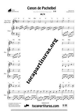Canon de Pachelbel Partitura Dúo de Saxo Tenor / Soprano Sax y Piano