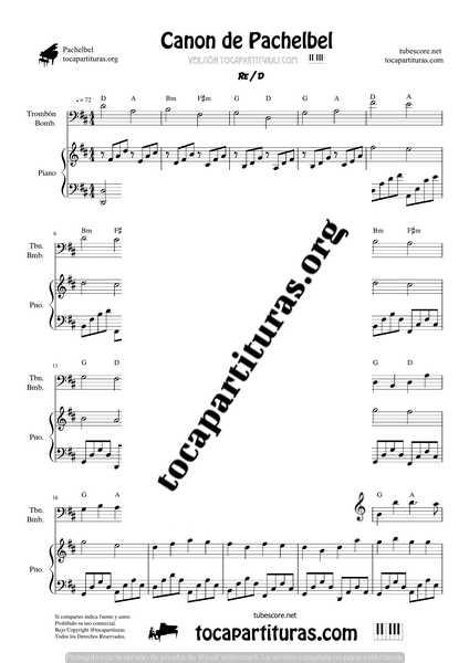 Canon de Pachelbel en D Partitura de Trombón y Bombardino & Piano DÚO Sheet Music for Trombone _ Euphonium & Piano Duet PianistsCanon de Pachelbel en D Partitura de Trombón y Bombardino & Piano DÚO Sheet Music for Trombone _ Euphonium & Piano Duet Pianists