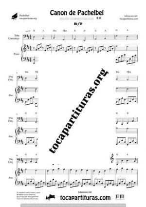 Canon de Pachelbel Partitura Dúo de Tuba / Contrabajo y Piano