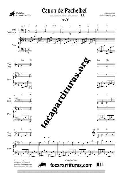 Canon de Pachelbel en D Partitura de Tuba, Contrabajo & Piano DÚO Sheet Music for Tuba _ Contrabajo & Piano Duet Pianists