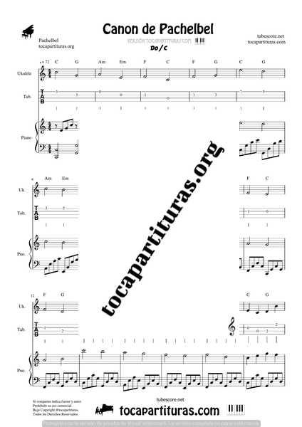 Canon de Pachelbel en D Partitura de Ukelele Punteo y Piano DÚO Sheet Music for Ukelele Fingering & Piano Duet Pianists
