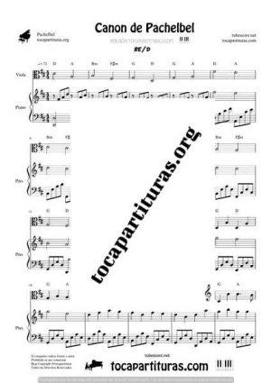 Canon de Pachelbel Partitura Dúo de Viola y Piano
