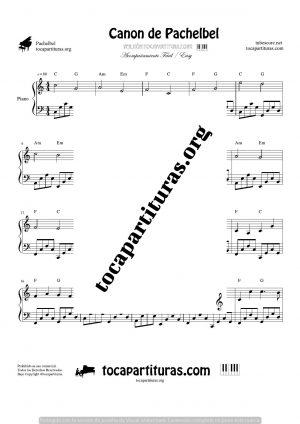 Canon de Pachelbel en Do (C) Piano (melodía y acompañamiento fácil)