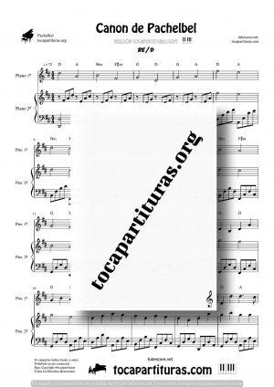 Canon de Pachelbel en Re (D) Partitura de 2 Pianos