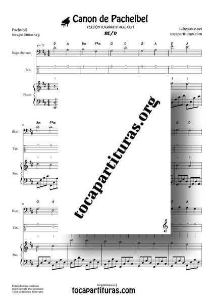 Canon de Pachelbel en Re Partitura y Tablatura de Bajo Eléctrico PDF KARAOKE con Dúo de Piano (Melodía y acompañamiento)
