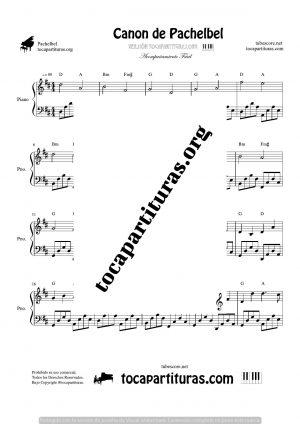 Canon de Pachelbel en Re (D) Piano (melodía y acompañamiento fácil)