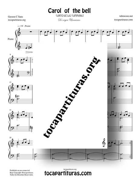 Carol of the bell Partitura PDF MIDI MP3 de Piano Fácil Villancico de las Campanas