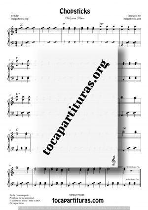 Chopsticks Partitura de Piano Fácil (Palitos Barrocos) Principiantes