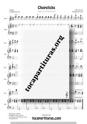 Chopsticks Partitura de Dúo de Piano (Melodía a Dos manos y Acompañamiento Piano)